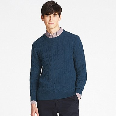MEN COTTON CASHMERE CABLE CREW NECK SWEATER, BLUE, medium