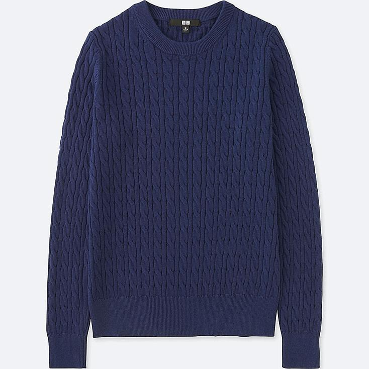 WOMEN COTTON CASHMERE CABLE CREWNECK SWEATER | UNIQLO US