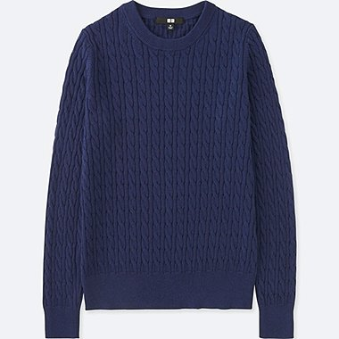 WOMEN COTTON CASHMERE CABLE CREWNECK SWEATER, BLUE, medium