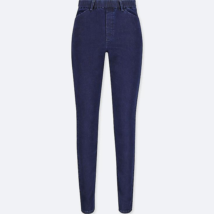 WOMEN HEATTECH HIGH-RISE LEGGINGS PANTS, BLUE, large