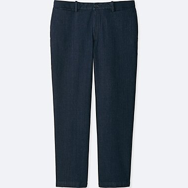 MEN RELAXED ANKLE PANTS (COTTON), BLUE, medium