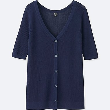 WOMEN LIGHT RIBBED HALF SLEEVE CARDIGAN, BLUE, medium