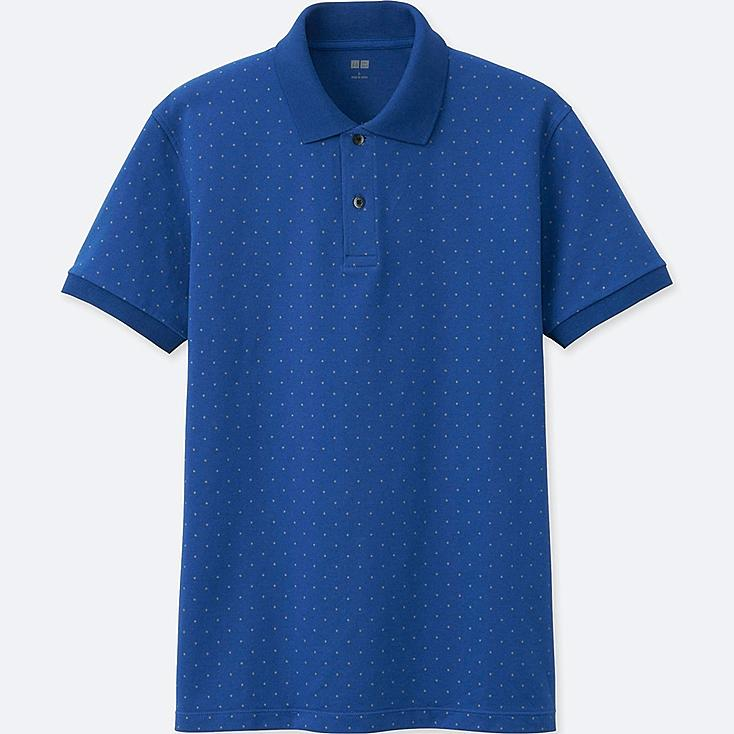 MEN DRY PIQUE PRINTED SHORT-SLEEVE POLO SHIRT, BLUE, large