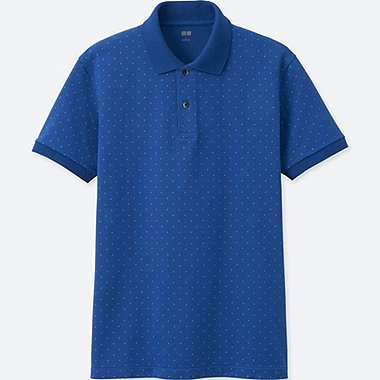 MEN DRY PIQUE PRINTED SHORT-SLEEVE POLO SHIRT, BLUE, medium