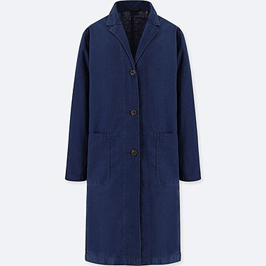WOMEN LINEN COTTON COAT, BLUE, medium