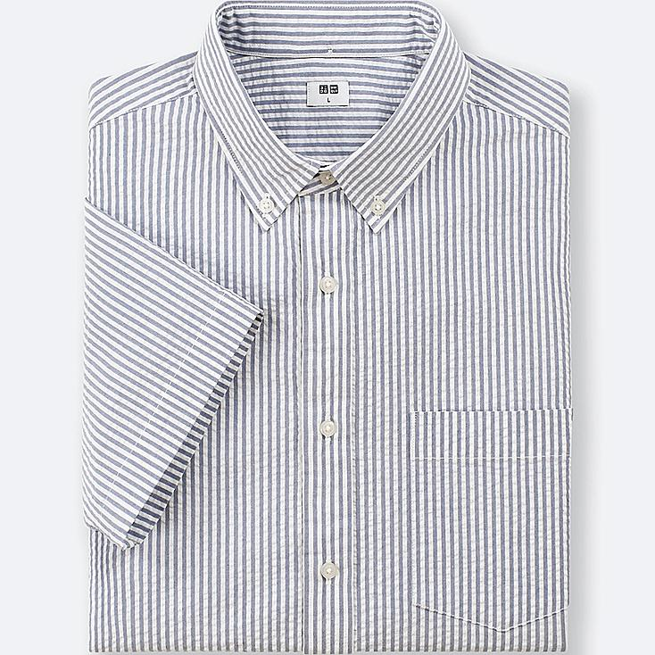 Men dry seersucker striped short sleeve shirt uniqlo us for Mens seersucker shirts on sale