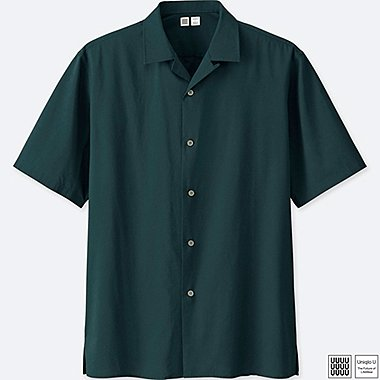 MEN U OPEN COLLAR SHORT-SLEEVE SHIRT, BLUE, medium