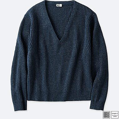 WOMEN UNIQLO U SHINY V NECK CROPPED SWEATER