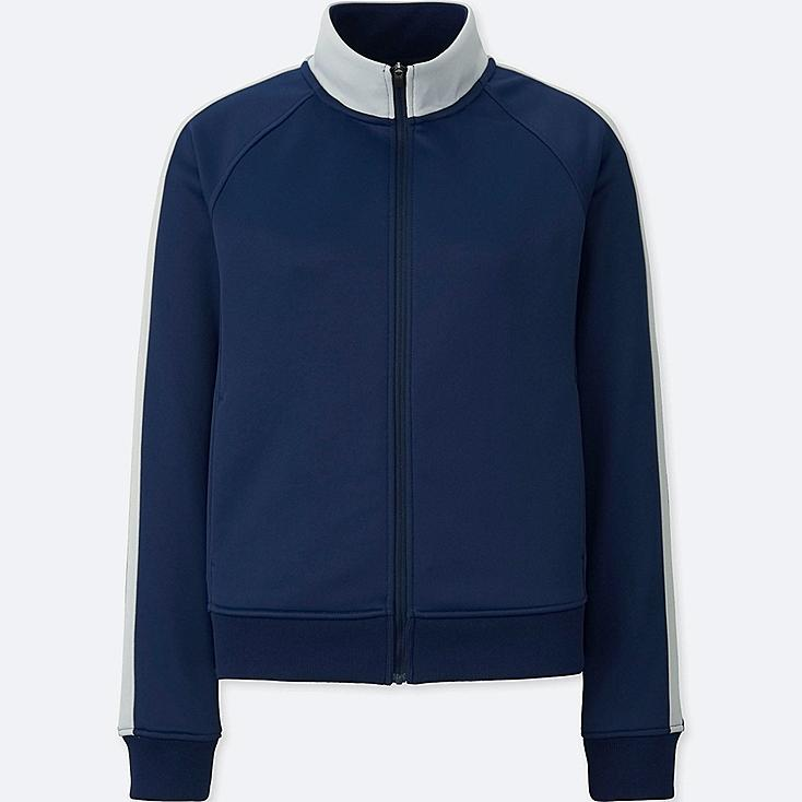 WOMEN TRICOT JERSEY JACKET, BLUE, large