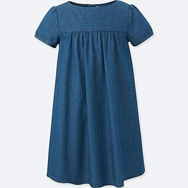 GIRLS CHAMBRAY SHORT-SLEEVE DRESS, BLUE, medium