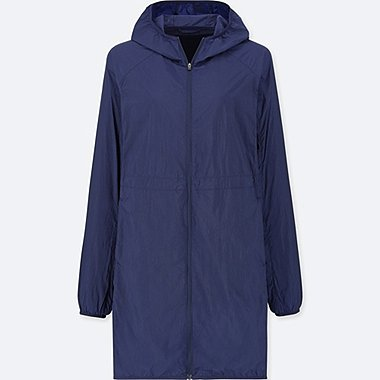 WOMEN LIGHT POCKETABLE COAT, BLUE, medium