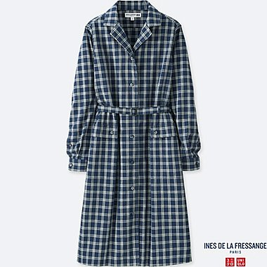 WOMEN INES 100% COTTON INDIGO LONG SLEEVE SHIRT DRESS