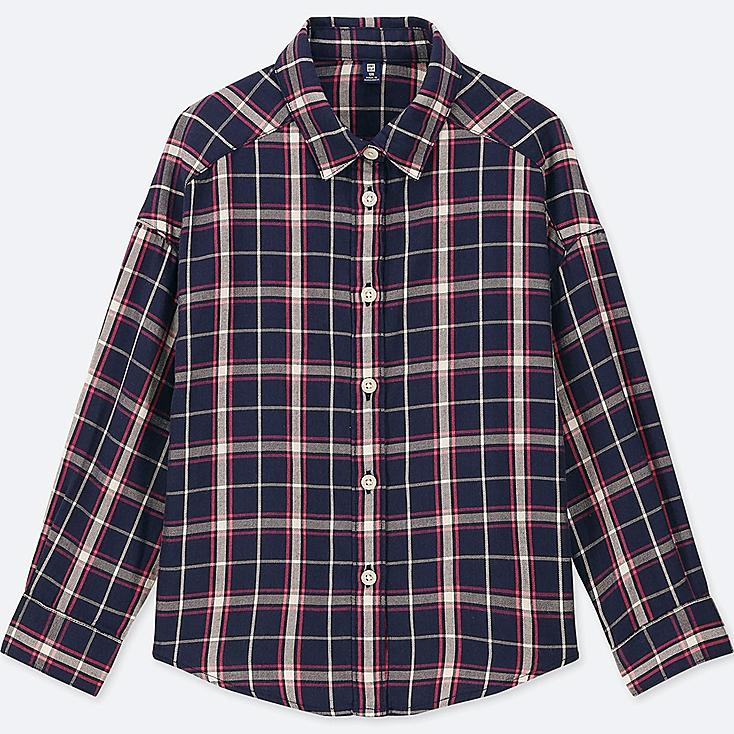GIRLS FLANNEL CHECKED LONG-SLEEVE SHIRT, BLUE, large