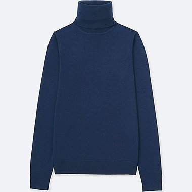 WOMEN EXTRA FINE MERINO TURTLENECK SWEATER, BLUE, medium