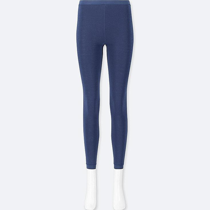 WOMEN HEATTECH PILE-LINED LEGGINGS, BLUE, large