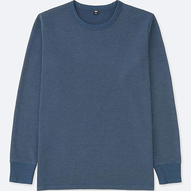 MEN WAFFLE CREW NECK LONG-SLEEVE T-SHIRT, BLUE, large