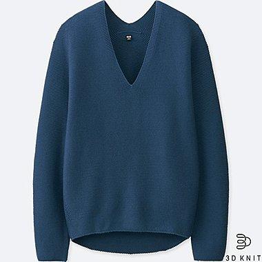 Damen 3D Baumwollstrick Pullover