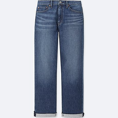 WOMEN HIGH-RISE BOYFRIEND STRAIGHT ANKLE JEANS