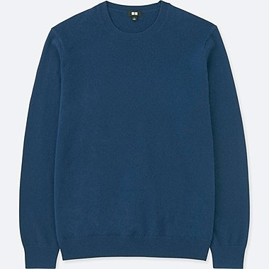 MEN CASHMERE CREWNECK LONG-SLEEVE SWEATER, BLUE, medium
