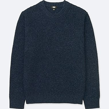MEN WAFFLE KNIT CREWNECK LONG-SLEEVE SWEATER, BLUE, medium