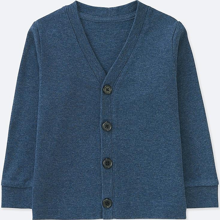 TODDLER COTTON V-NECK LONG-SLEEVE CARDIGAN, BLUE, large