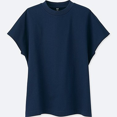 WOMEN MERCERIZED COTTON FRENCH SLEEVE SHORT-SLEEVE T-SHIRT, BLUE, medium