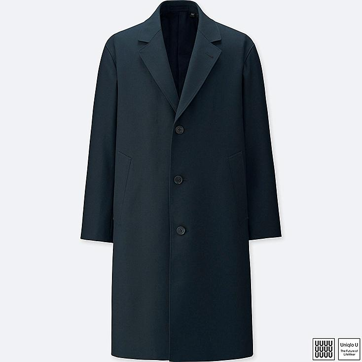 MEN U WOOL-BLEND CHESTERFIELD COAT, BLUE, large
