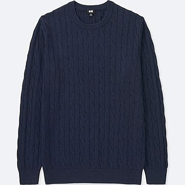 MEN COTTON CASHMERE CABLE LONG-SLEEVE SWEATER, BLUE, medium