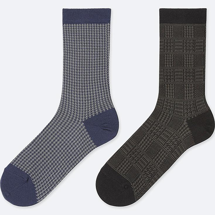 WOMEN HEATTECH HOUNDSTOOTH SOCKS (2 PAIRS), BLUE, large