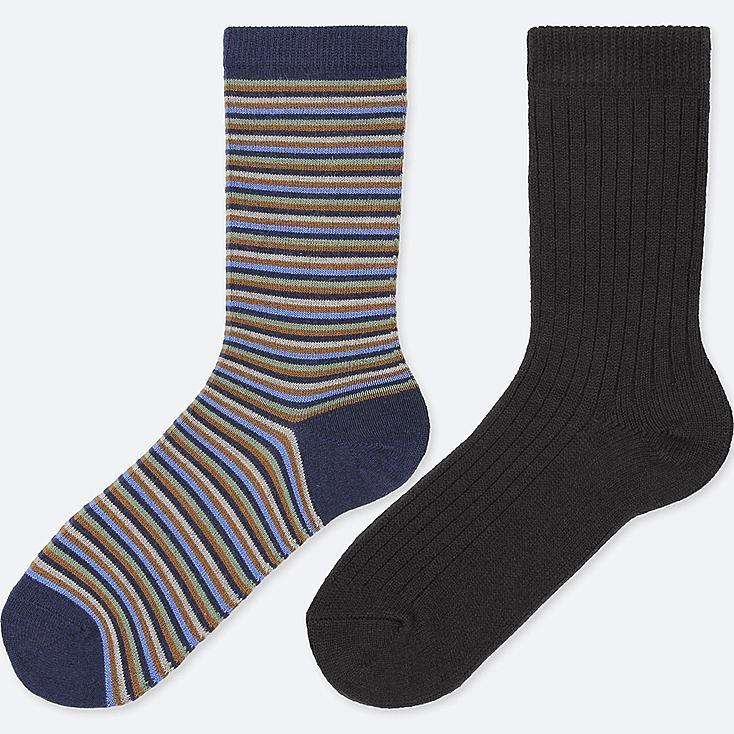 WOMEN HEATTECH STRIPED SOCKS (2 PAIRS), BLUE, large