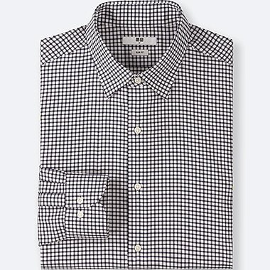 MEN EASY CARE CHECKED STRETCH SLIM FIT LONG SLEEVE SHIRT
