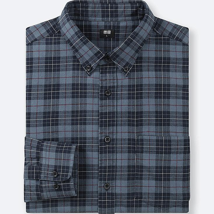 MEN FLANNEL CHECKED LONG-SLEEVE SHIRT, BLUE, large
