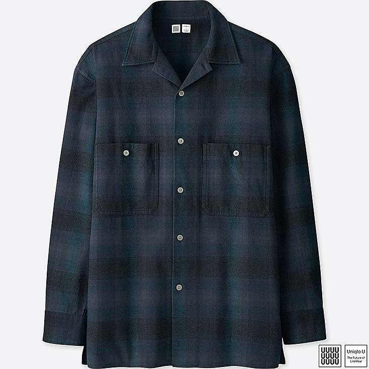 MEN U FLANNEL OPEN COLLAR LONG-SLEEVE SHIRT, BLUE, large