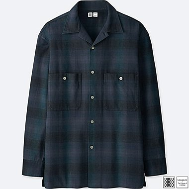 MEN UNIQLO U FLANNEL RELAXED FIT CHECKED SHIRT (OPEN COLLAR)
