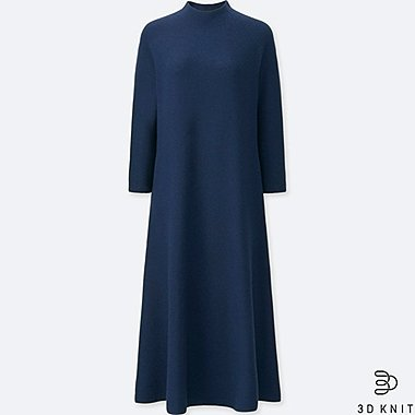 WOMEN 3D EXTRA FINE MERINO MOCK NECK 3/4 SLEEVED DRESS