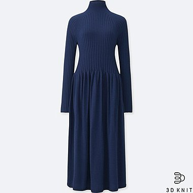 WOMEN 3D EXTRA FINE MERINO RIBBED LONG-SLEEVE DRESS, BLUE, medium