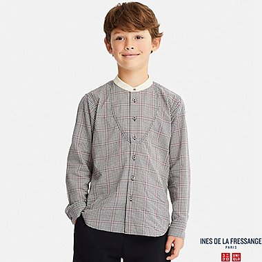 KIDS INES COTTON LAWN CHECKED LONG SLEEVE SHIRT