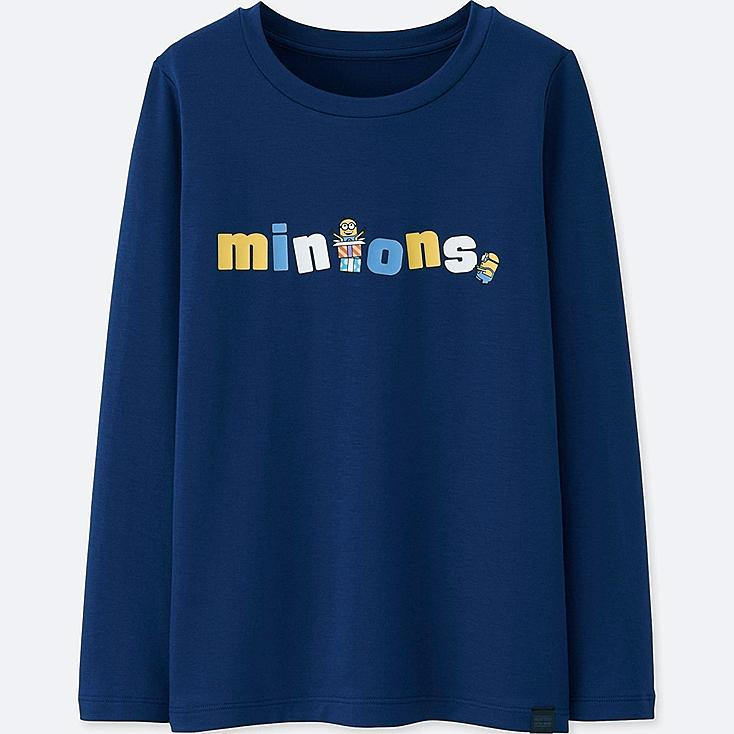 KIDS MINIONS HEATTECH EXTRA WARM CREW NECK T-SHIRT, BLUE, large