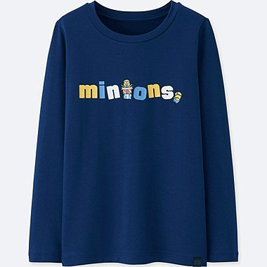 KIDS MINIONS HEATTECH EXTRA WARM CREW NECK T-SHIRT, BLUE, medium