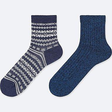 WOMEN HEATTECH CREW FAIR ISLE SOCKS (2 PAIRS), BLUE, medium