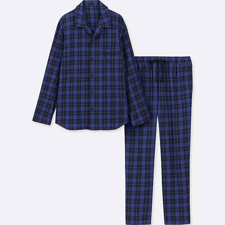 MEN LONG-SLEEVE FLANNEL PAJAMAS, BLUE, large