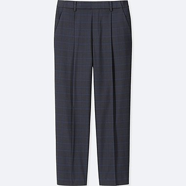 WOMEN EZY TUCKED ANKLE-LENGTH PANTS (WINDOWPANE), BLUE, medium
