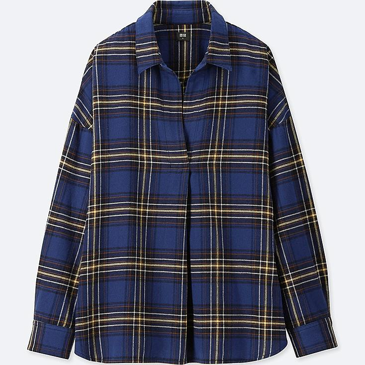 WOMEN FLANNEL CHECKED SKIPPER LONG-SLEEVE SHIRT, BLUE, large