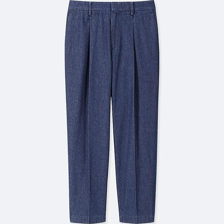 WOMEN COTTON TAPERED INDIGO ANKLE-LENGTH PANTS | Tuggl