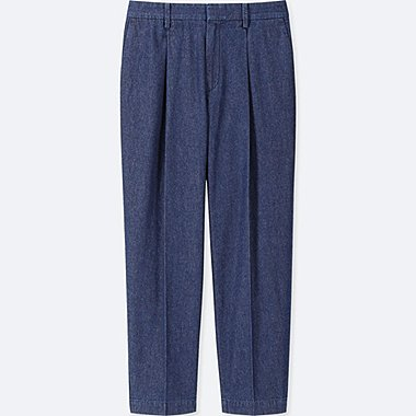WOMEN COTTON TAPERED INDIGO ANKLE-LENGTH PANTS, BLUE, medium
