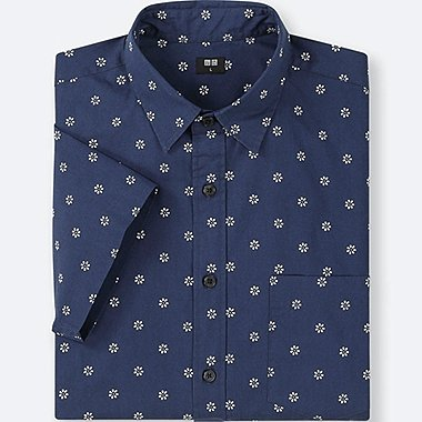MEN BROADCLOTH PRINTED SHORT-SLEEVE SHIRT, BLUE, medium