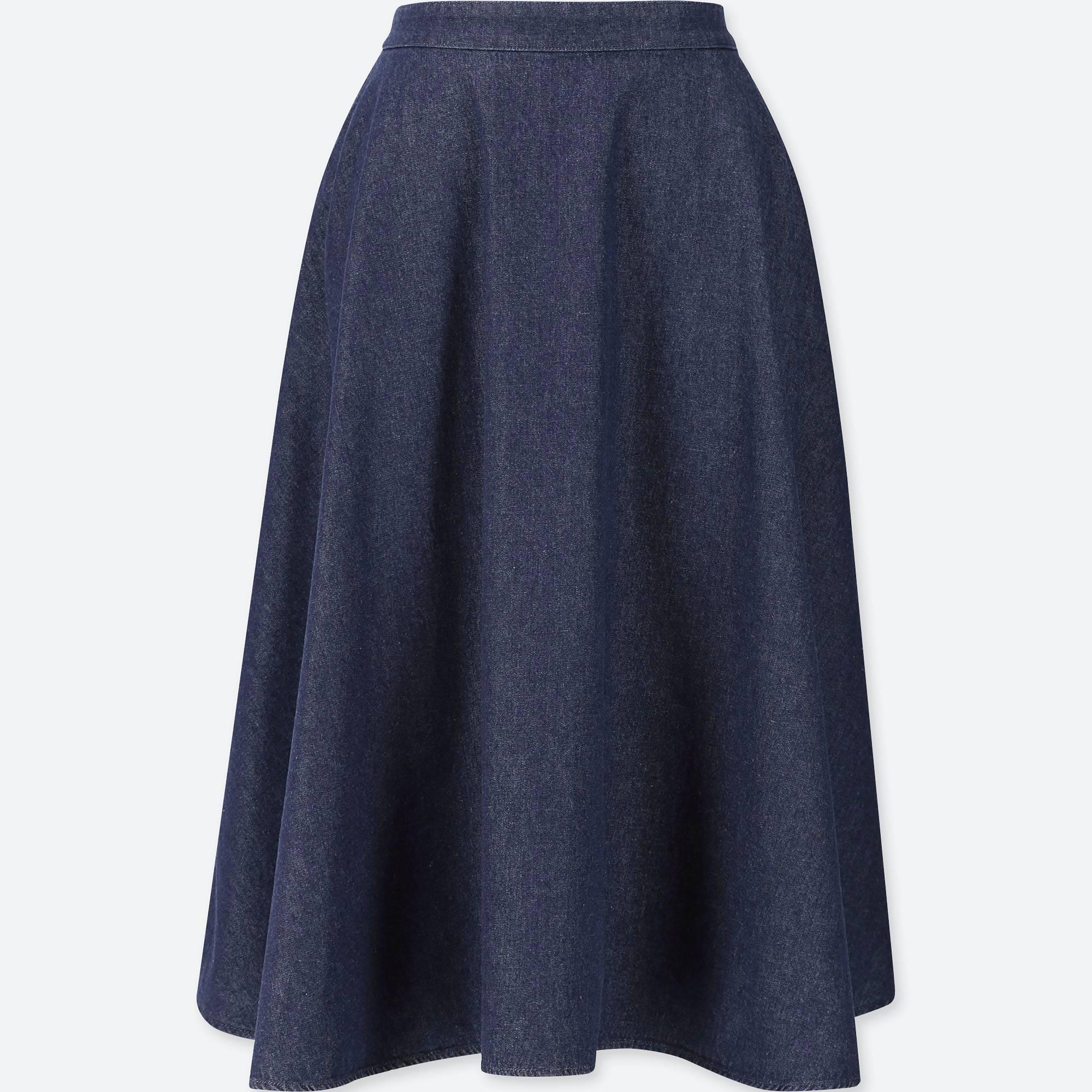 ユニクロ/ スカート women cotton high-waist circular skirt