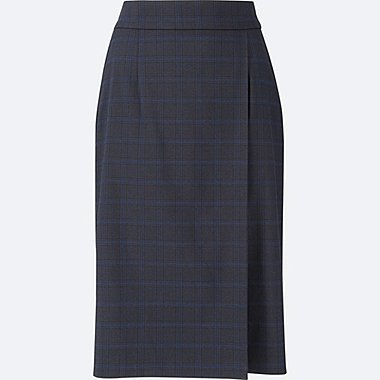 WOMEN HIGH WAISTED CHECKED NARROW SKIRT