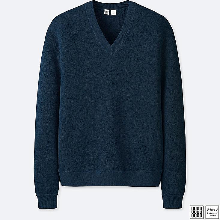 MEN U WOOL V-NECK LONG-SLEEVE SWEATER, BLUE, large