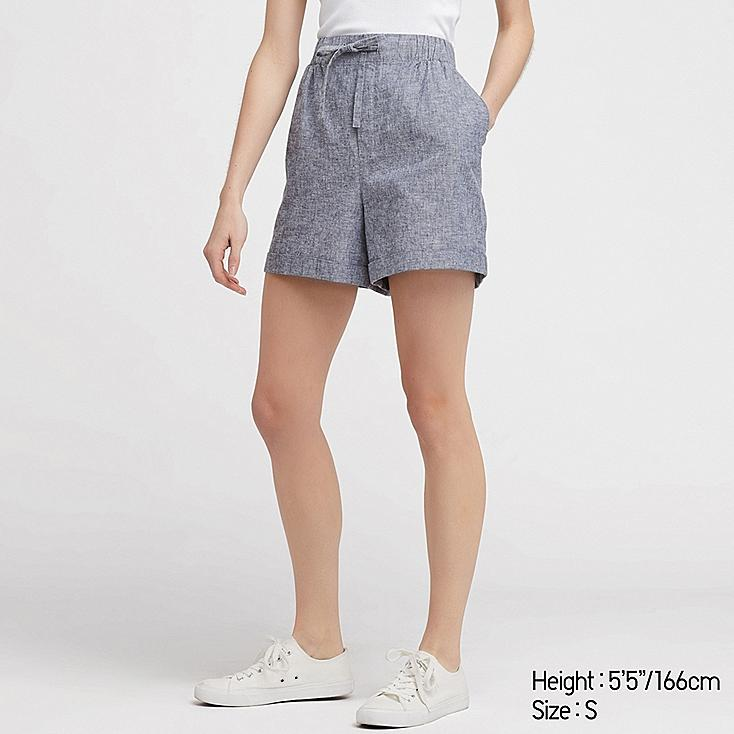 WOMEN LINEN COTTON RELAXED SHORTS, BLUE, large